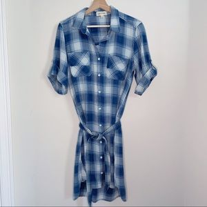 Cloth & Stone Blue Plaid Shirt Dress With Belt